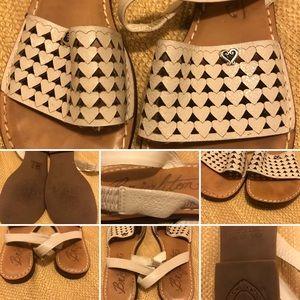 EUC Brighton Ahava Cream Leather Sandals SZ 9.5